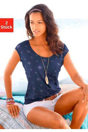beachtime T-Shirt (2er-Pack) Ausbrenner-Qualität mit leicht transparenten Sternen