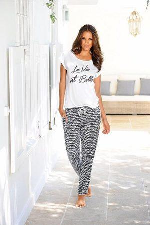 s.Oliver Pyjama »La Vie est Belle« im -Weiß-Design
