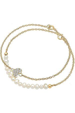 Elli Perlenarmband Set »Herz Layer Swarovski® Kristalle Cute 925 «
