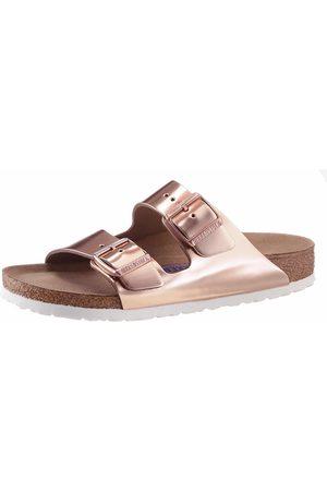 Birkenstock »ARIZONA SFB« Pantolette in schmaler Schuhweite, Metallic-Optik, mit Soft-Fußbett