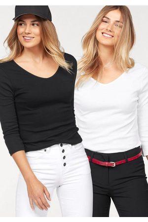 FLASHLIGHTS Damen T-Shirts, Polos & Longsleeves - V-Shirt (Packung, 2er-Pack) mit 3/4 Ärmel