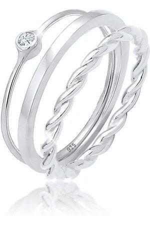 Elli Solitärring »Ring-Set mit Kristalle 925 «