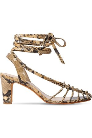 MARYAM NASSIR ZADEH 90mm Snake Printed Leather Sandals