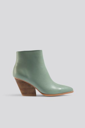 NA-KD Western Heel Pointy Boots - Green