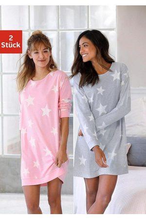 Arizona Damen Nachthemden - Nachthemd (2er-Pack) in melierter Optik mit Sternen