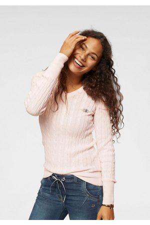 TOM TAILOR V-Ausschnitt-Pullover mit durchgehendem Zopfmuster