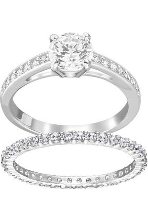 Swarovski Ring-Set »I Do, weiss, rhodiniert, 5184981, 5184979, 5184317, 5184980, 5184982« (Set, 2-tlg), mit ® Kristallen