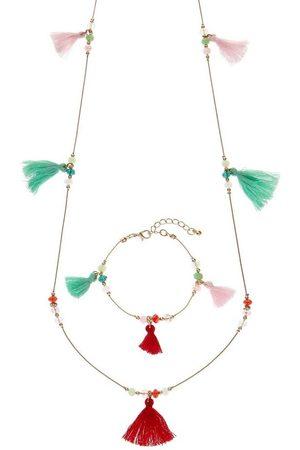 Lascana Halsketten - Schmuckset, aus Kette und Armband mit farbigen Tasseln