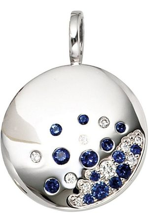 Jobo Runder Anhänger, rund 585 Weiß mit 10 Diamanten und Safir