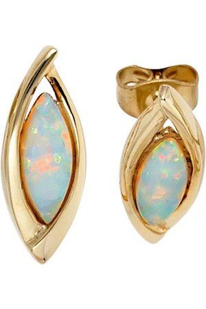 Jobo Paar Ohrstecker, oval 375 mit synthetischen Opalen