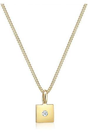 DIAMORE Uhren - Collierkettchen »Viereck Anhänger Diamant (0.015 ct) 585er Gelbgold«