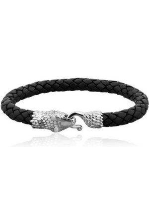 Kuzzoi Armband »Herren Echtleder Schlange Geflochten 925 Silber«