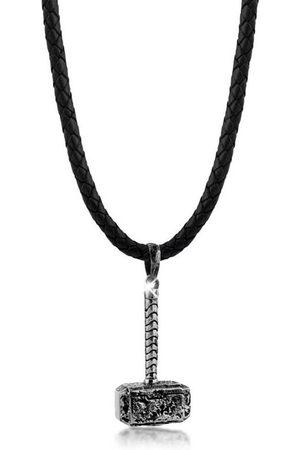 Kuzzoi Lederband »Lederkette Hammer Anhänger Matt Oxidiert 925 «