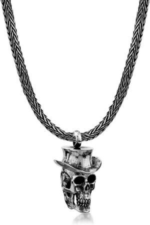 Kuzzoi Silberkette »Herren Schlangenkette Totenkopf mit Hut 925 «
