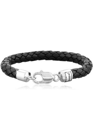 Kuzzoi Armband »Herren Echtleder Geflochten Karabiner 925 Silber«