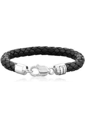 Kuzzoi Armband »Herren Echtleder Geflochten Karabiner 925 «