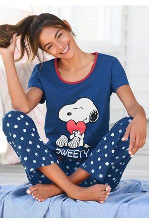 Peanuts Pyjama mit Snoopy-Druck und Pünktchen-Hose