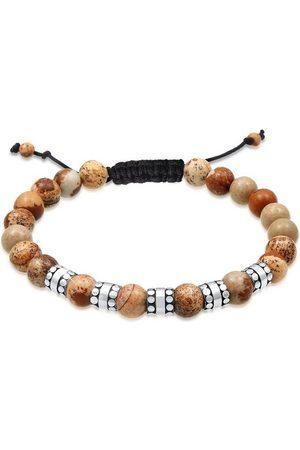 Kuzzoi Armband »Herren Achat Perlen Bead Jasper Look 925 Silber«