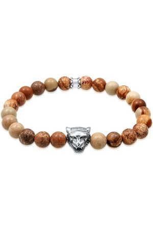 Kuzzoi Armband »Herren Achat Tigerkopf Bead Oxidiert 925 «