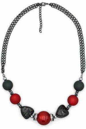 J. Jayz Collier »mehrreihig, mit Perlen in und «, mit Hämatit, Glassteinen und Kunststoffperlen, Made in Germany