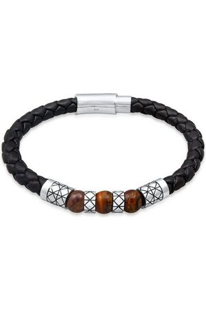 Kuzzoi Armband »Herren Leder Bead Magnet-Verschluß 925er Silber«