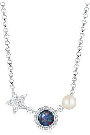 Nenalina Collierkettchen »Stern Opal Perle Swarovski® Kristalle 925 «