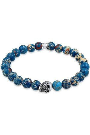 Kuzzoi Armband »Herren Blauer Achat Stein mit Totenkopf Silber«