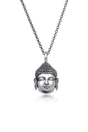 Kuzzoi Lange Kette »Herren Anhänger Buddha Kopf Oxidiert 925 «