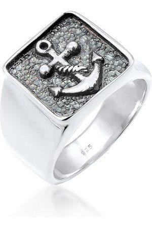 Kuzzoi Silberring »Herren Siegelring Anker Symbol Oxidiert 925 «