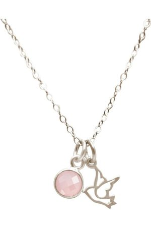 Gemshine Kette mit Anhänger »Taube Rosenquarz Mädchenschmuck«, Made in Spain