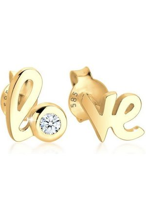 DIAMORE Paar Ohrstecker »Love Wordings Liebe Diamant 0.03 ct. 585 Gelbgold«