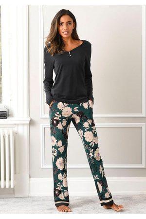 s.Oliver Damen Schlafanzüge - Pyjama mit geblümter Schlafhose