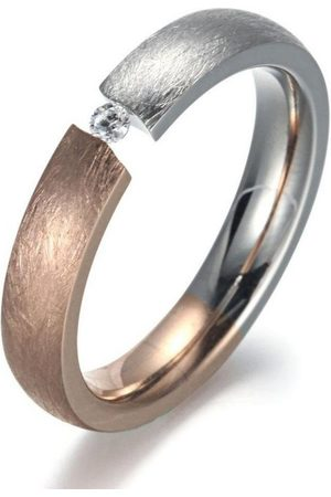 Firetti Fingerring »4,0 mm, Matt-Glanzoptik, bicolor«, mit Zirkonia