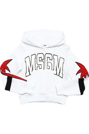 Msgm Embroidered Patch & Logo Cotton Hoodie
