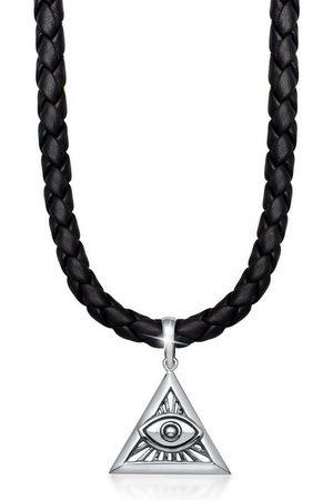 Kuzzoi Herren Halsketten - Kette mit Anhänger »Herren Leder Dreieck Anhänger Auge Gottes«