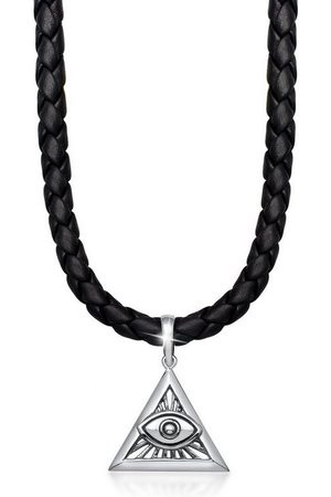 Kuzzoi Lederband »Herren Leder Dreieck Anhänger Auge Gottes«
