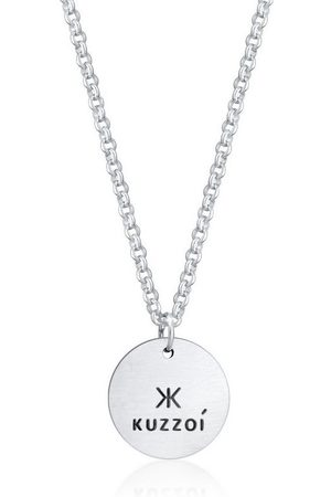 Kuzzoi Herren Halsketten - Silberkette »Herren mit Coin Anhänger Massiv matt 925 «