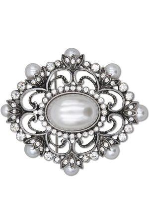 J. Jayz Brosche »metallfarbene Ornamentik«, mit Glassteinen und Kunststoffperlen