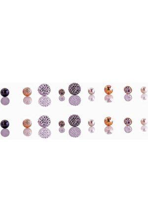 J. Jayz Ohrstecker-Set »mit schimmernden Kugeln und funkelnden Elementen« (Set, 18-tlg), mit Glassteinen
