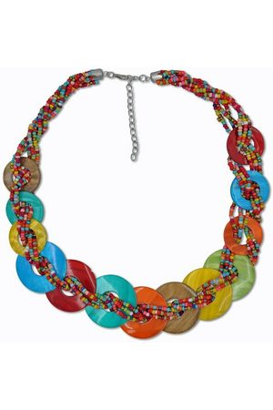 J. Jayz Collier »runde Plättchen, bunte Farbgestaltung«, mit Glassteinen