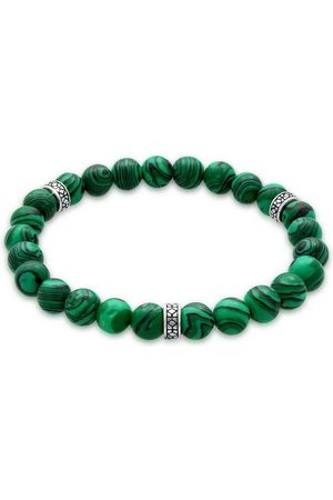 Kuzzoi Armband »Herren Achat Malachit Bead Oxidiert 925 Silber«