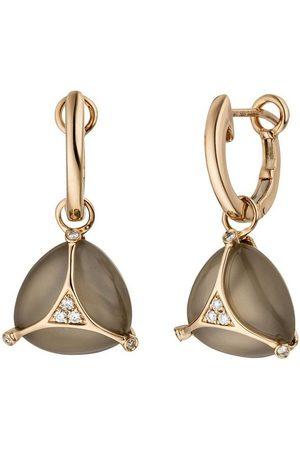 Jobo Paar Creolen, 585 Rosé mit 12 Diamanten 2 Mondstein Cabochons