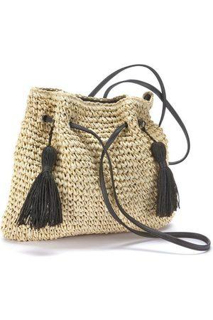 Lascana Damen Handtaschen - Umhängetasche, Strandtasche aus leichtem Papierstroh mit modischen Tasseln