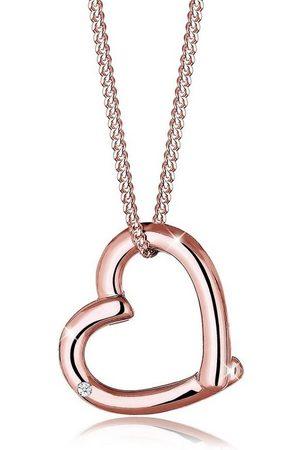 DIAMORE Collierkettchen »Herz Anhänger mit Diamant (0.02 ct) 925 Silber«