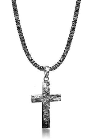 Kuzzoi Kette mit Anhänger »Herren Schlangenkette Kreuz Gehämmert 925 «