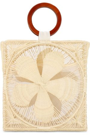 SENSI STUDIO Woven Flower Top Handle Bag