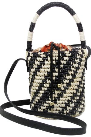 SENSI STUDIO Mini Two Tone Straw Bucket Bag