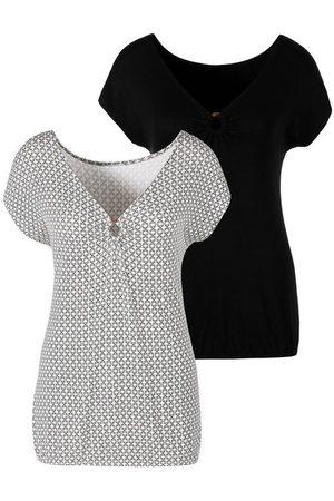 Lascana T-Shirt (2er-Pack) mit Ringeinsatz in Hornoptik vorn