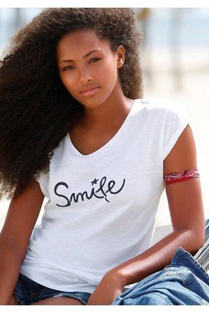 """beachtime T-Shirt mit modischem Sprüche Frontdruck """"Smile"""""""