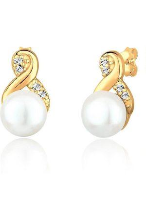 Elli Paar Ohrstecker »Infinity Perle Swarovski® Kristalle 925 Silber«